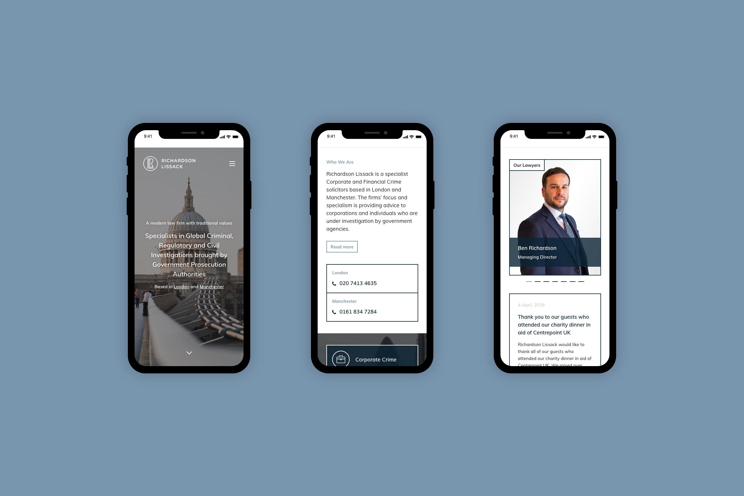 Richardson Lissack Solicitors mobile responsive website design